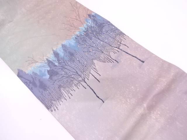 引き箔樹木風景模様織出し袋帯【リサイクル】【中古】