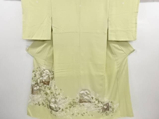 作家物 金彩 萩に鶴・椿・兎模様刺繍三つ紋色留袖(比翼付き)【リサイクル】【中古】