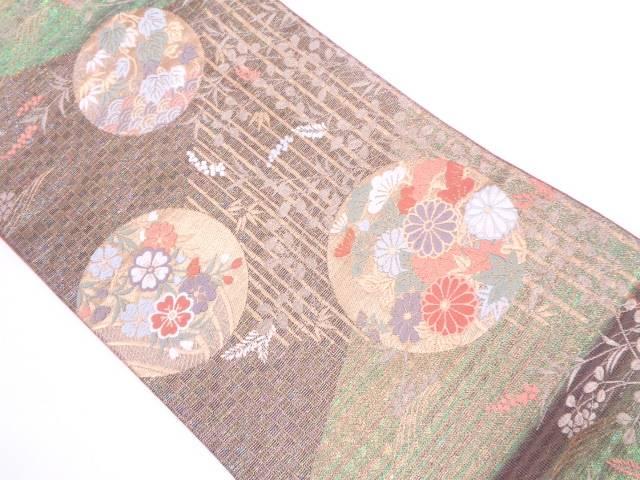 丸文に草花・青海波模様織出し袋帯【リサイクル】【中古】