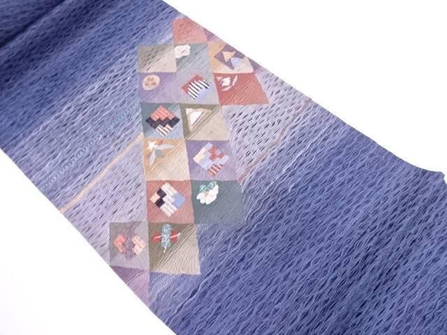 すくい織変わり市松に花模様織出し袋帯【リサイクル】【中古】