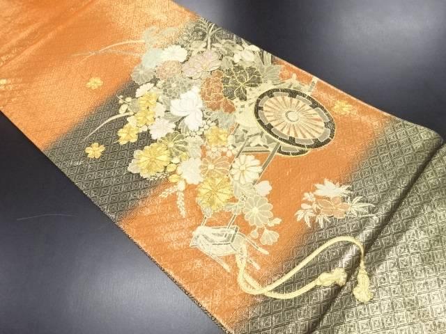 佐賀錦花車模様刺繍袋帯【リサイクル】【中古】