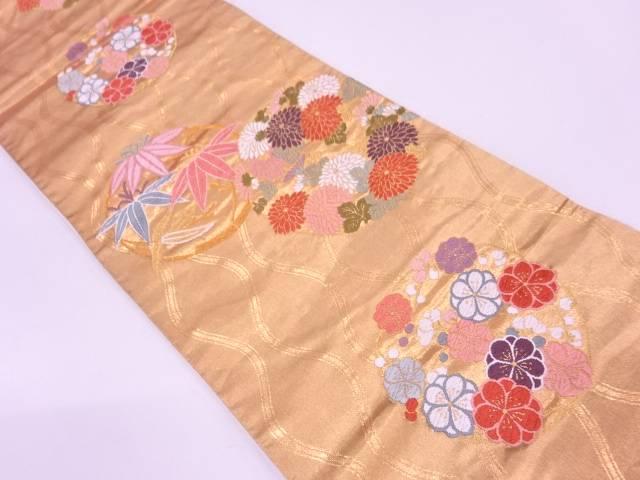 梅笹に花丸文様織出し袋帯【リサイクル】【中古】