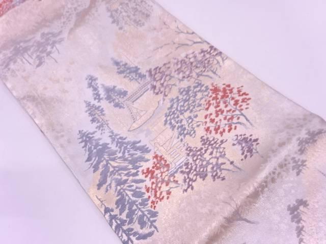 寺院に樹木風景模様織出し袋帯【リサイクル】【中古】