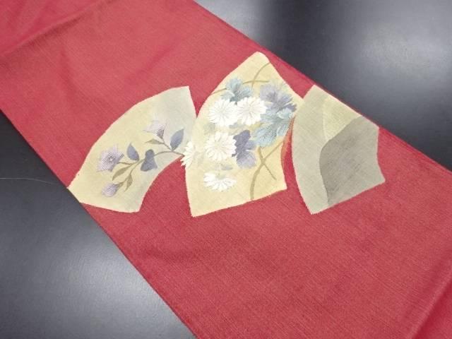 明綴れ地紙に菊・桔梗模様織り出し袋帯【リサイクル】【中古】