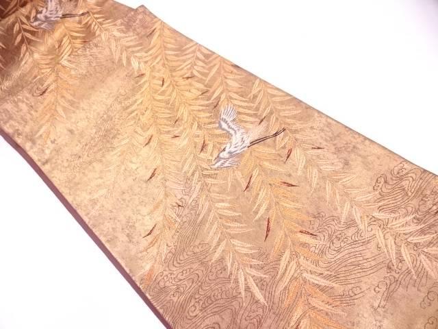 未使用品 引き箔草葉に鳥模様織出し袋帯【リサイクル】【中古】