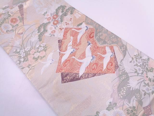 未使用品 色紙に群鶴・草花模様織出し袋帯【リサイクル】【中古】