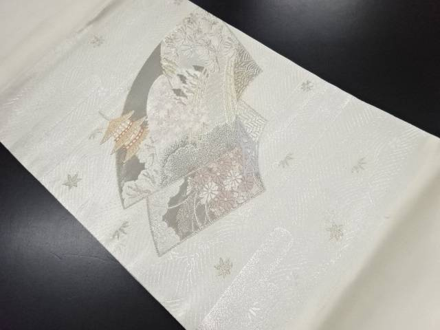 プラチナ二重箔地紙に嵐山風景模様織り出し名古屋帯【リサイクル】【中古】