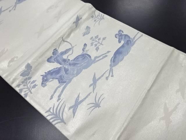 狩猟紋様織り出し袋帯【リサイクル】【中古】
