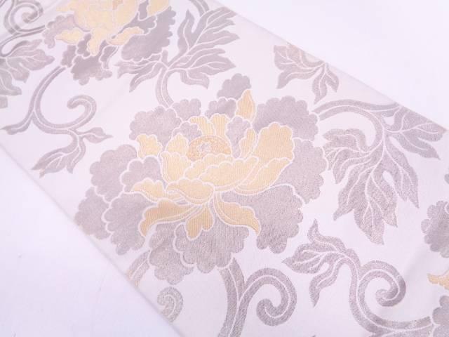 川島織物製 牡丹唐草模様織出し袋帯【リサイクル】【中古】
