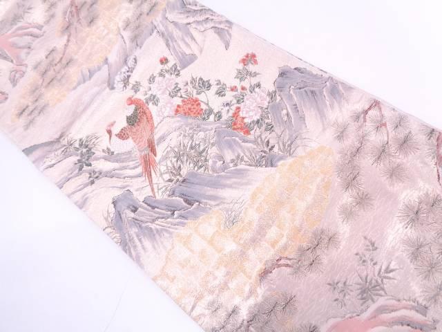 山水に花鳥模様織出し全通袋帯【リサイクル】【中古】