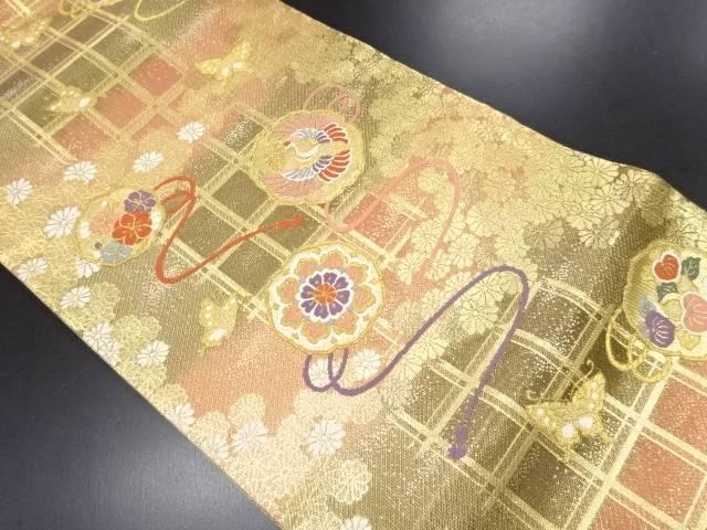 佐賀錦鏡裏に鶴・花模様織り出し袋帯【リサイクル】【中古】