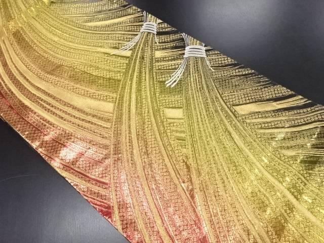 金糸 束ね熨斗模様織り出し袋帯【リサイクル】【中古】