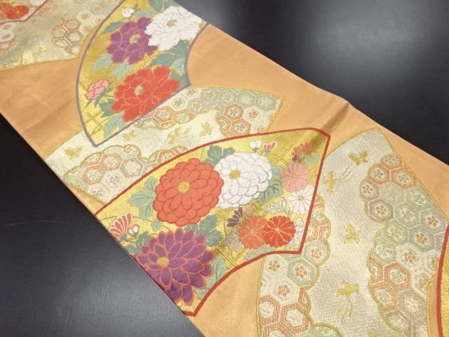 本金 唐織 地紙に菊・牡丹模様織り出し袋帯【リサイクル】【中古】