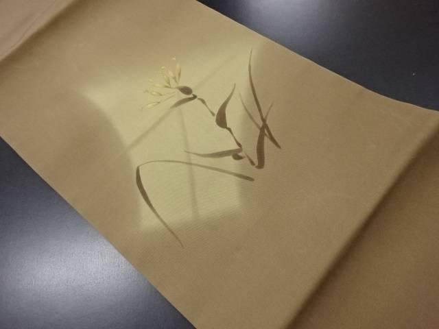 塩瀬手描き草花模様名古屋帯【リサイクル】【中古】