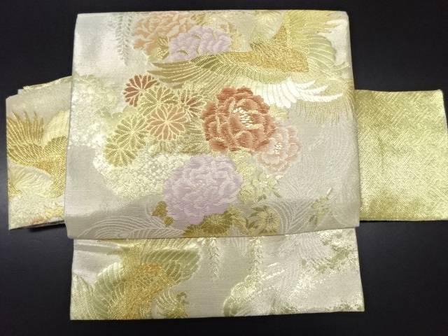 佐賀錦鳳凰に牡丹菊模様織り出し作り帯【リサイクル】【中古】