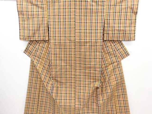 未使用品 格子織り出し手織り節紬着物【リサイクル】【中古】