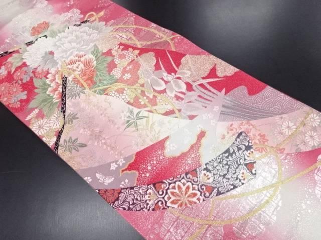 几帳に牡丹・菊・華紋織り出し袋帯【リサイクル】【中古】