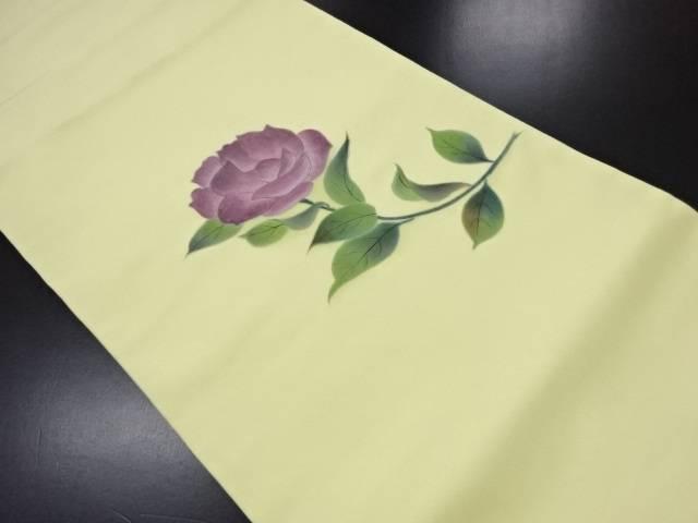塩瀬手描き薔薇模様名古屋帯【リサイクル】【中古】