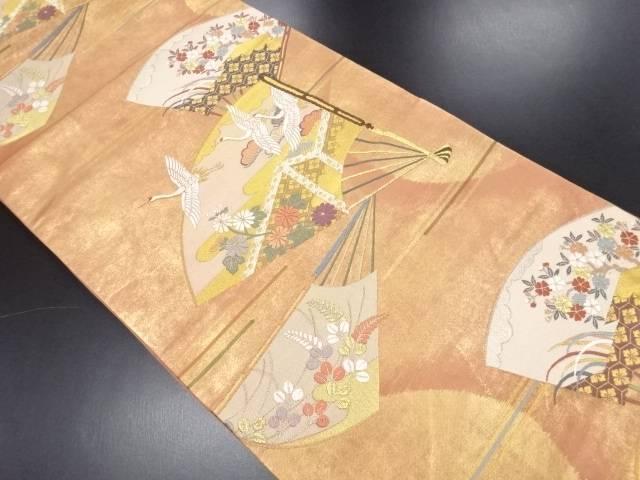 本金 扇面に桜菊萩鶴模様織り出し袋帯【リサイクル】【中古】