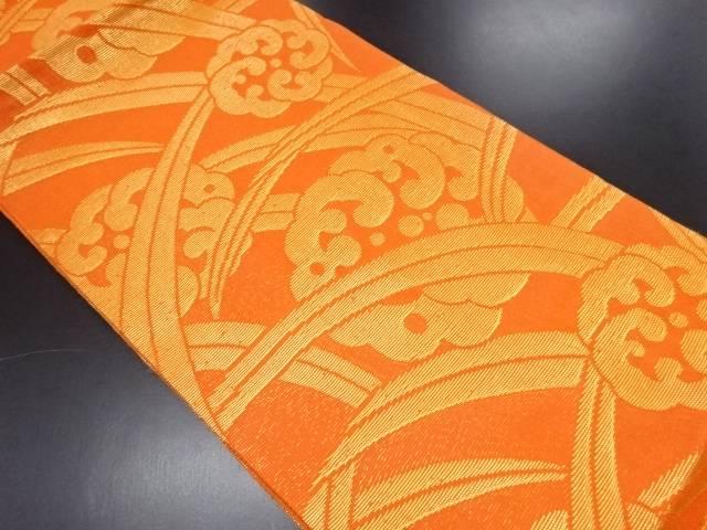 紗 金糸 芝草に波丸紋様織り出し全通袋帯【リサイクル】【中古】