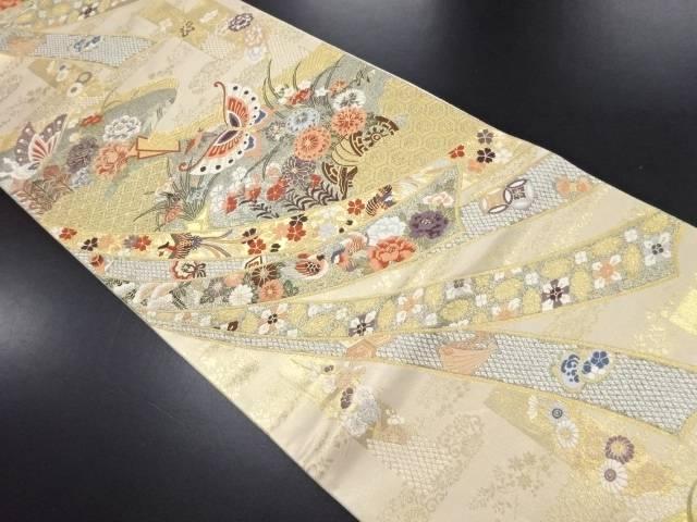 本金箔草花に蝶模様織り出し袋帯【リサイクル】【中古】