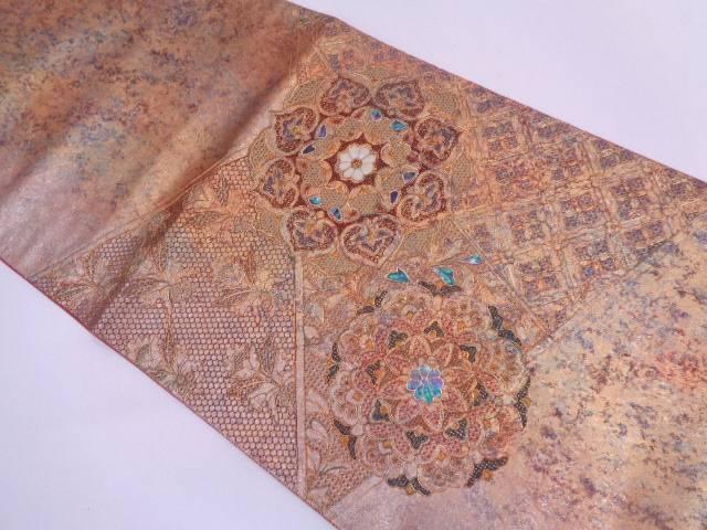 引箔螺鈿華紋模様刺繍袋帯【リサイクル】【中古】