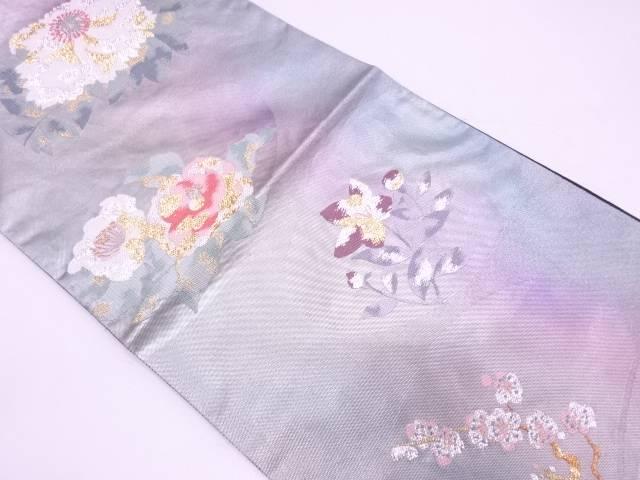 モール草花模様織出し袋帯【リサイクル】【中古】