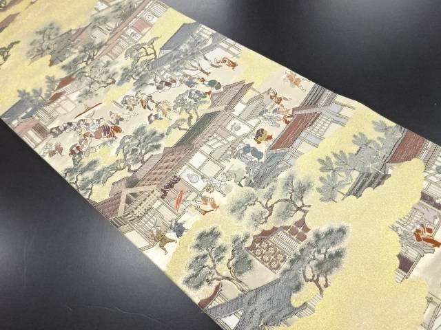 本金東京博物館舟木家旧蔵本「洛中洛外図」織り出し袋帯【リサイクル】【中古】
