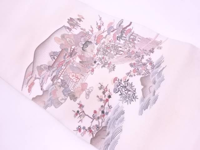 相良刺繍風景模様袋帯【リサイクル】【中古】