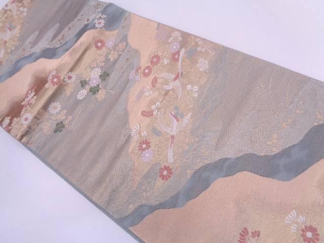 波に花鳥模様織出し袋帯【リサイクル】【中古】