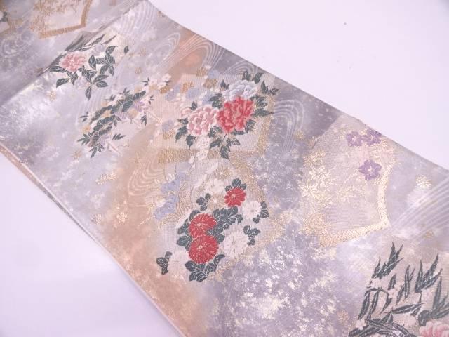 未使用品 引箔寿扇色紙花文織出し袋帯【リサイクル】【中古】
