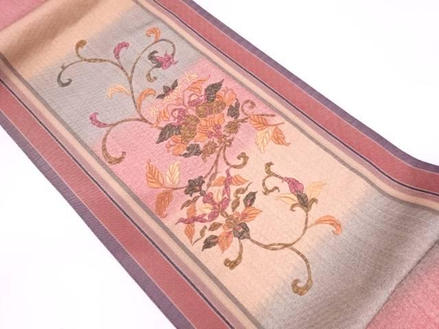 花鳥模様刺繍袋帯【リサイクル】【中古】