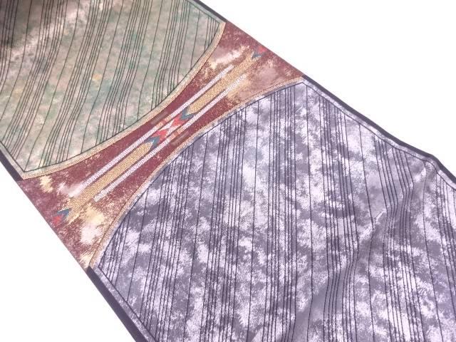 引箔抽象模様織出し袋帯【リサイクル】【中古】