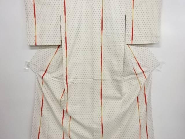 縞に井桁絣模様織り出し手織り真綿紬着物【リサイクル】【中古】