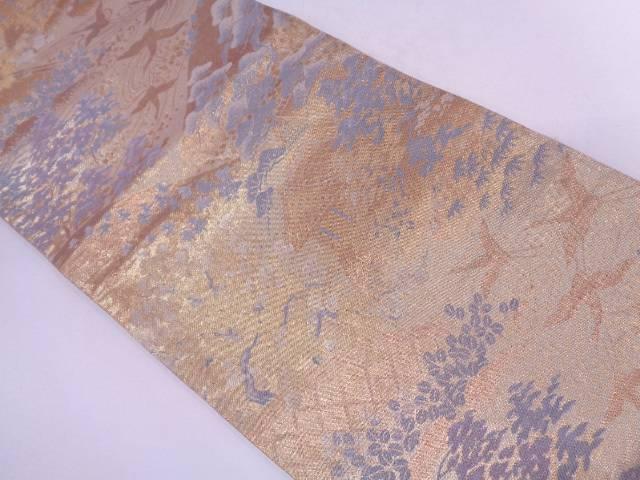 鶴に光悦垣・屋敷風景模様織出し袋帯【リサイクル】【中古】