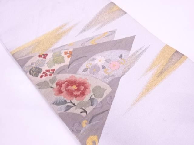 明綴れ地紙に草花模様織出し名古屋帯【リサイクル】【中古】