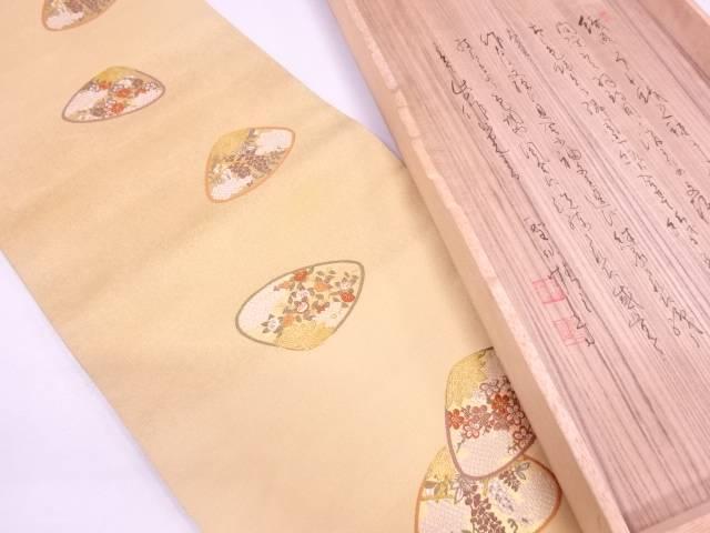 綴れ貝合わせに草花模様刺繍袋帯【リサイクル】【中古】