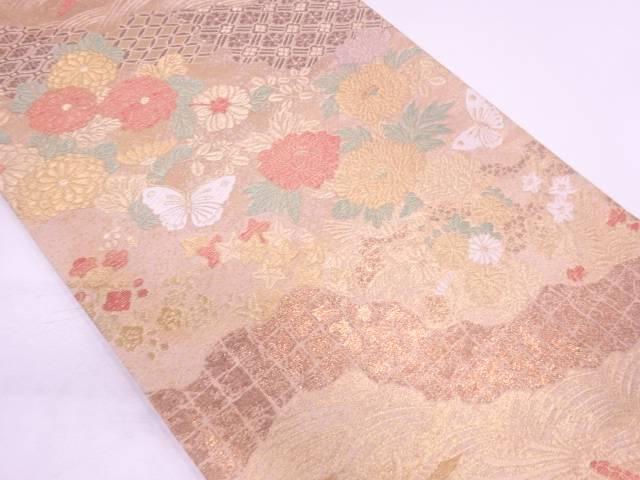 極楽鳥に蝶・草花模様織出し袋帯【リサイクル】【中古】