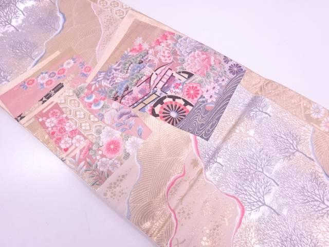 九百錦純金箔色紙に御所車・草花模様織出し袋帯【リサイクル】【中古】