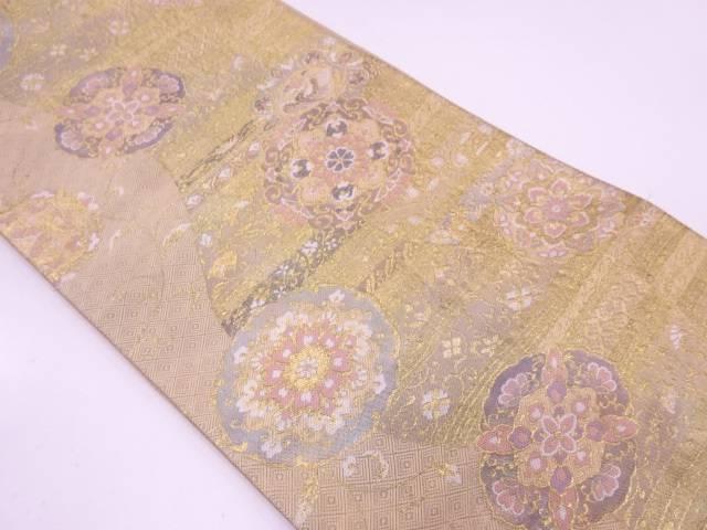 鳳凰に華紋模様織出し袋帯【リサイクル】【中古】