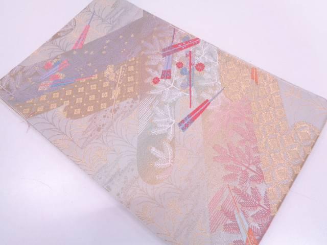 未使用品 本金箔二重織松に扇子・花模様織出し袋帯【リサイクル】【中古】