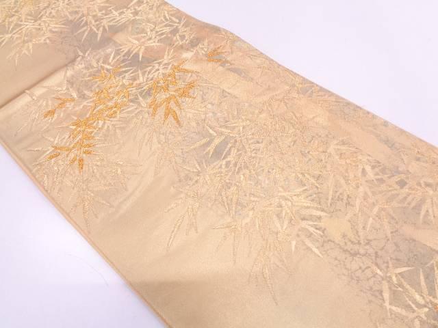 引箔伝統工芸士紋屋五左衛門 笹模様織出し袋帯【リサイクル】【中古】