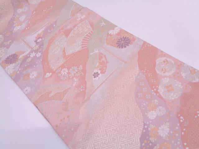 道長取りに草花・古典柄模様織出し袋帯【リサイクル】【中古】