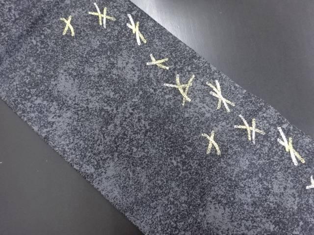 金銀糸 線描き模様織り出し名古屋帯【リサイクル】【中古】