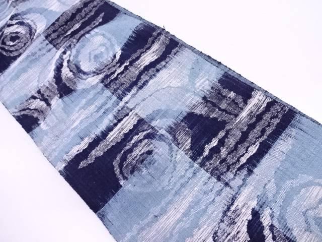 手織真綿紬市松に渦巻き模様織出し名古屋帯【リサイクル】【中古】