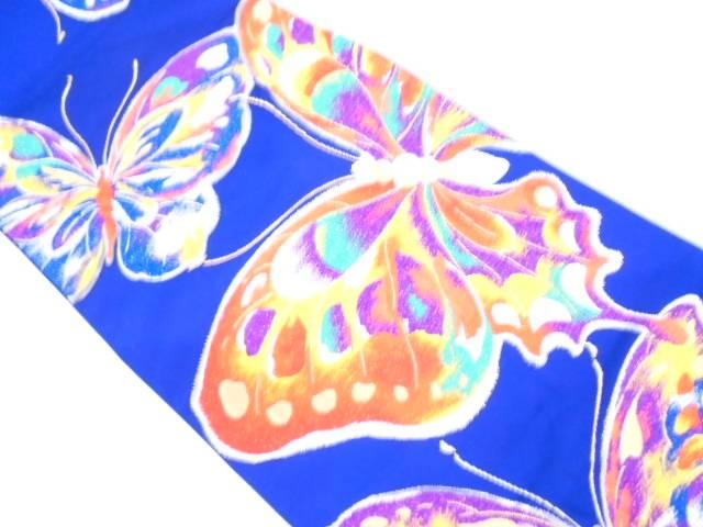 じゅらく製 蝶模様織出し振袖用袋帯【リサイクル】【中古】