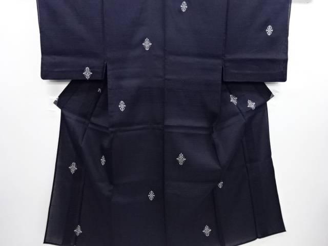 手織り夏紬華紋刺繍男物着物(長身キングサイズ)【リサイクル】【中古】