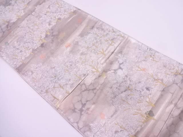 樹木模様織出し袋帯【リサイクル】【中古】