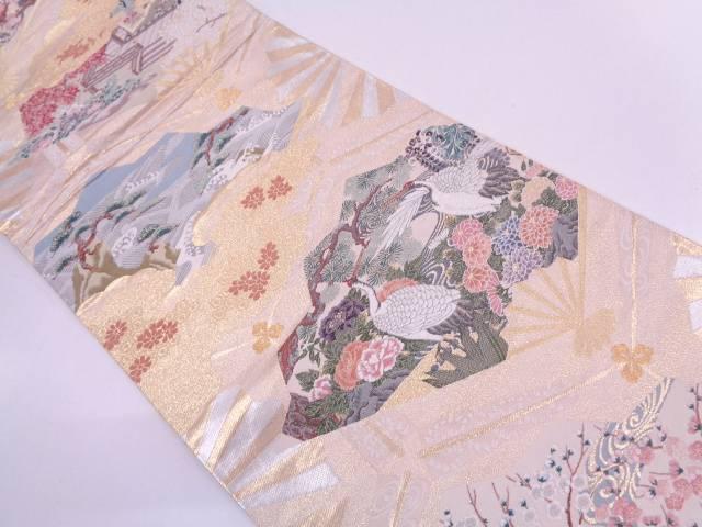 扇に双鶴・草花模様織出し袋帯【リサイクル】【中古】
