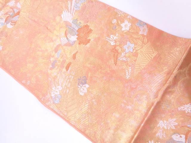 引箔地紙に鴛鴦・草花模様織出し袋帯【リサイクル】【中古】
